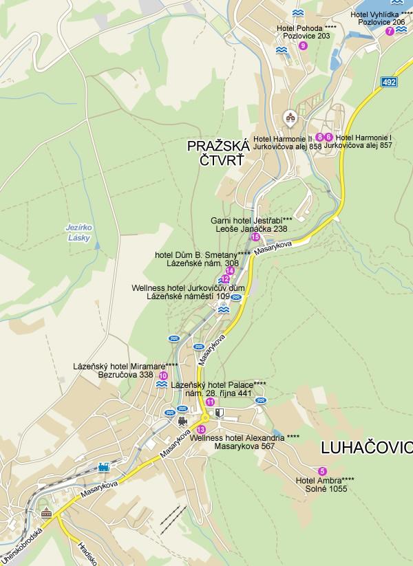 Luhačovice - orientační mapka